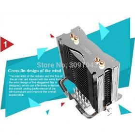 PcCooler Mini CPU Heatsink 2 Heatpipe with 2 Fan 80mm - HS115 - Black/Red - 4