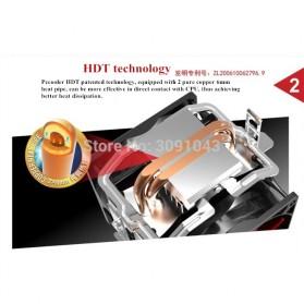 PcCooler Mini CPU Heatsink 2 Heatpipe with 2 Fan 80mm - HS115 - Black/Red - 5