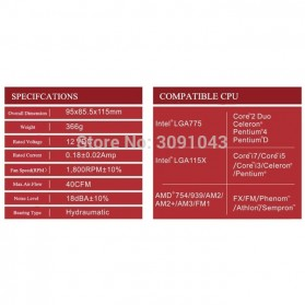 PcCooler Mini CPU Heatsink 2 Heatpipe with 2 Fan 80mm - HS115 - Black/Red - 7