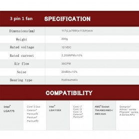 PcCooler Mini CPU Heatsink 2 Heatpipe with 2 Fan 80mm - HS115 - Black/Red - 8