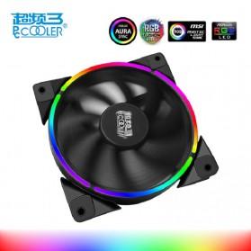 PcCooler Aura Mini CPU Cooling Fan RGB 4-Pin 120mm - Black