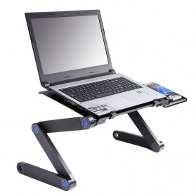 Meja Laptop Portable Table with Mouse Desk & Cooling Fan - HH3468 - Black