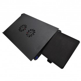 Multi Functional Laptop Table with USB Fan - T8 - Black - 2