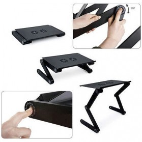 Multi Functional Laptop Table with USB Fan - T8 - Black - 7