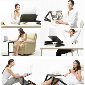 Multi Functional Laptop Table with USB Fan - T8 - Black - 9