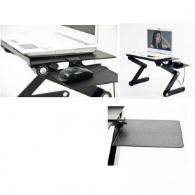 Multi Functional Laptop Table with USB Fan - T8 - Black - 13