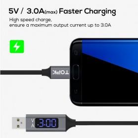 TOPK Kabel Charger USB Type C TPE 3A 1 Meter with Voltage Meter - CS0132 - Black - 3