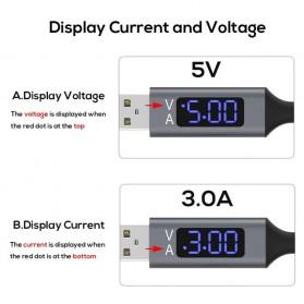 TOPK Kabel Charger USB Type C TPE 3A 1 Meter with Voltage Meter - CS0132 - Black - 4