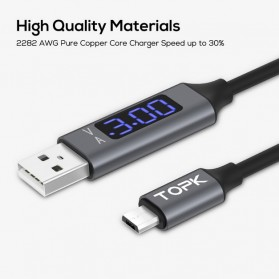TOPK Kabel Charger USB Type C TPE 3A 1 Meter with Voltage Meter - CS0132 - Black - 5