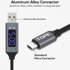 TOPK Kabel Charger USB Type C TPE 3A 1 Meter with Voltage Meter - CS0132 - Black - 6