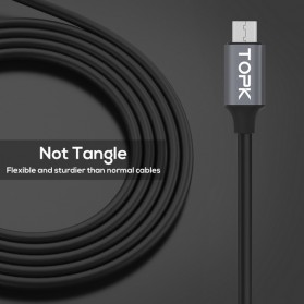 TOPK Kabel Charger USB Type C TPE 3A 1 Meter with Voltage Meter - CS0132 - Black - 8