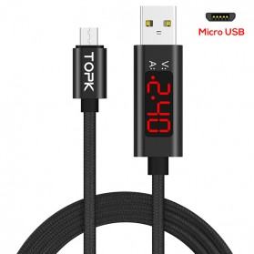 TOPK Kabel Charger Micro USB Braided 3A 1Meter with Voltage Meter - CS0127 - Black