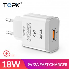 TOPK Charger Handphone Fast Charging QC 3.0 USB Adapter 18W - B126Q - White