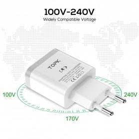 TOPK Charger Handphone Fast Charging QC 3.0 USB Adapter 18W - B126Q - White - 4