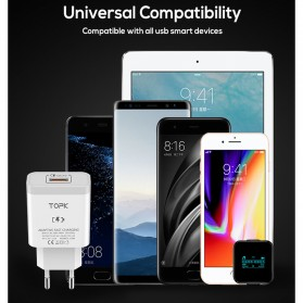 TOPK Charger Handphone Fast Charging QC 3.0 USB Adapter 18W - B126Q - White - 6