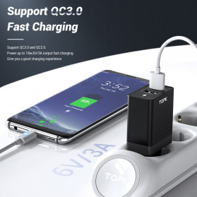 TOPK Charger USB Fast Charging 2 Port QC3.0 28W - B254Q - Black - 2