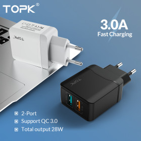 TOPK Charger USB Fast Charging 2 Port QC3.0 28W - B244Q - White - 2