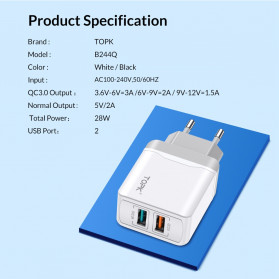 TOPK Charger USB Fast Charging 2 Port QC3.0 28W - B244Q - White - 7
