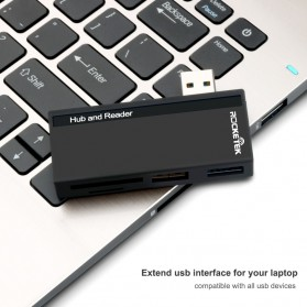 USB Hub with Micro + SD Card Reader - RT-SUR-U2B - Black - 2