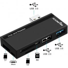 USB Hub with Micro + SD Card Reader - RT-SUR-U2B - Black - 4