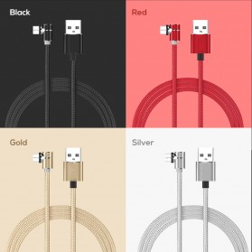 Kabel Charger Magnetic USB Type C Elbow L Shape 2 Meter - E08 - Black - 5