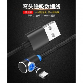 Kabel Charger Magnetic USB Type C Elbow L Shape 2 Meter - E08 - Black - 8
