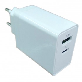 WOTOBE Charger USB 2 Port USB Type C PD Charging QC 3.0 18W - WTB-PD24A - White