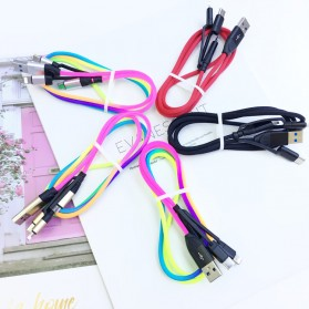 Cyliliya Kabel Charger Rainbow 3 in 1 Micro USB + Lightning + USB Type C 1 Meter 2.1A - CY01 - Multi-Color - 5