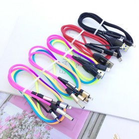 Cyliliya Kabel Charger Rainbow 3 in 1 Micro USB + Lightning + USB Type C 1 Meter 2.1A - CY01 - Multi-Color - 6