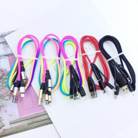 Cyliliya Kabel Charger Rainbow 3 in 1 Micro USB + Lightning + USB Type C 1 Meter 2.1A - CY01 - Multi-Color - 7
