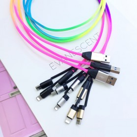 Cyliliya Kabel Charger Rainbow 3 in 1 Micro USB + Lightning + USB Type C 1 Meter 2.1A - CY01 - Multi-Color - 8