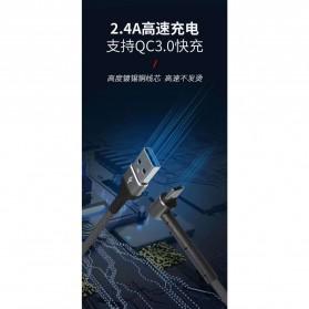 Kabel Charger 3 in 1 Lightning 8 Pin Micro USB Type C L Shape 1 Meter - DC108 - Black - 4