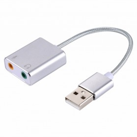YUNCLOUD External USB Cable Sound Card Virtual 3D Audio 7.1 Channel - HS100B - Silver - 2