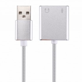 YUNCLOUD External USB Cable Sound Card Virtual 3D Audio 7.1 Channel - HS100B - Silver - 4