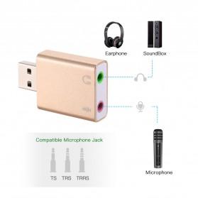 YUNCLOUD External USB Sound Card Virtual 3D Audio 7.1 Channel - HS100B - Golden - 2