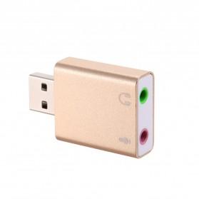 YUNCLOUD External USB Sound Card Virtual 3D Audio 7.1 Channel - HS100B - Golden - 4