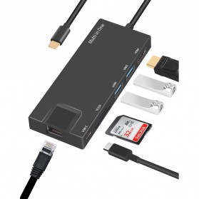 BUBM USB Type C Hub 7 in 1 LAN Adapter with Pass-through Charging - YC-205 - Black