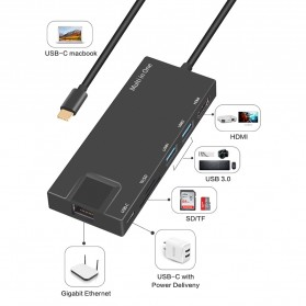 BUBM USB Type C Hub 7 in 1 LAN Adapter with Pass-through Charging - YC-205 - Black - 8