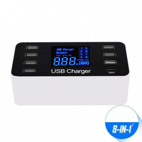 DSstyles Smart Powerstrip Charger USB 8 Port Type C 8A 40W with LED Display - PS022 - Black with White Side