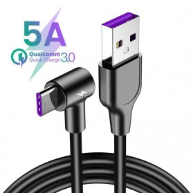 FANBIYA Kabel Charger USB Type C Braided L Shape Fast Charging 5A 1 Meter - 3C - Black