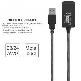 Robotsky Kabel USB Extension Cable 2.0 Dual Chip 15 Meter - R15 - Black - 11