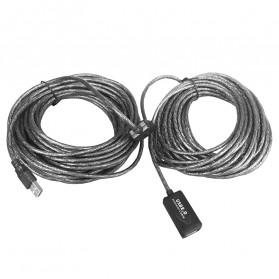 Robotsky Kabel USB Extension Cable 2.0 Dual Chip 15 Meter - R15 - Black - 2