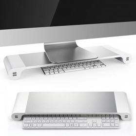 Besegad Meja Monitor Stand Aluminium with 4 USB Port - LP-CA033 - Silver
