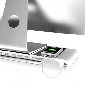 Besegad Meja Monitor Stand Aluminium with 4 USB Port - LP-CA033 - Silver - 3
