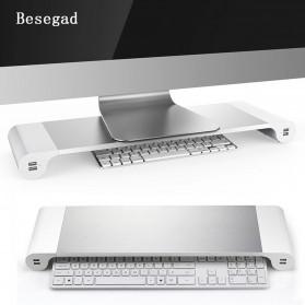 Besegad Meja Monitor Stand Aluminium with 4 USB Port - LP-CA033 - Silver - 6