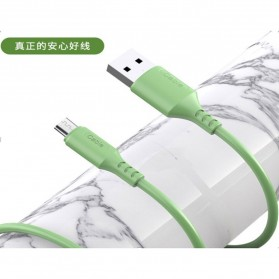 Liquid Soft Kabel Charger Micro USB 2.4A 1 Meter - SM208 - Green - 3