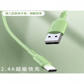 Liquid Soft Kabel Charger USB Type C 2.4A 1 Meter - SM208 - Green - 2