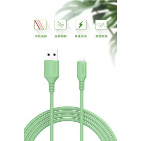 Liquid Soft Kabel Charger USB Type C 2.4A 1 Meter - SM208 - Green - 4