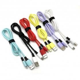 Liquid Soft Kabel Charger Micro USB 2.4A 1 Meter - SM218 - Black - 2