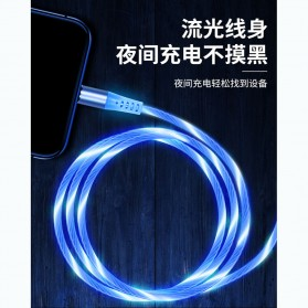 Rbow Kabel Charger LED Magnetic Head 3 in 1 Micro USB Lightning Type C 1 Meter - Blue - 9